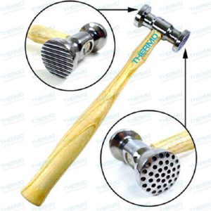 Thermo Steel Texturing Hammer with Round Dimples On One Side & Narrow Pinstripes on Another Side (10.5″ Long)