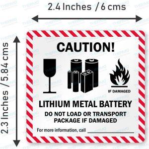 Lithium Metal Battery Sticker / Label (60mm x 58mm)
