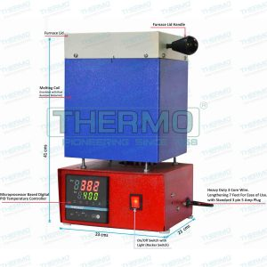 Thermo Microprocessor based Pid Temperature Controlled Metal Melting Furnace 2kg (gold) capacity maximum temperature 1200 C can used to melt Gold, Silver, Brass,,led,etc.