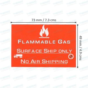 Flammable Gas Surface Ship Only , No Air Shipping Sticker / Label (73mm x 49mm)