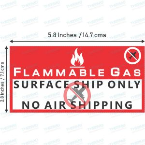 Flammable Gas Surface Ship Only , No Air Shipping Sticker / Label (149 mm x 73 mm)